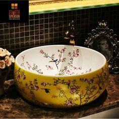 4Colors, New Birds And Flower Countertop Lavobo Ceramic Bathroom Bowl Sink Wash Basin-in Bathroom Sinks from Home Improvement on Aliexpress.com | Alibaba Group