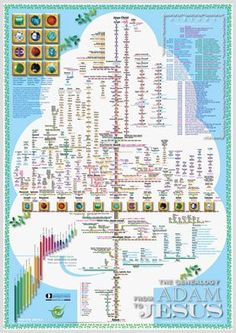 A magnificent poster showing the genealogical chart of the Old Testament, including the two lineages of Jesus back to Adam and the 12 tribes of Israel, and a brief chronology from creation to Malachi and much more!
