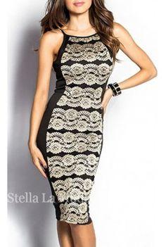 Black and Tan Sleeveless Lace Overlay Midi Dress