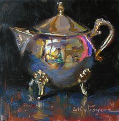 Silver on Black by Elena Katsyura Oil ~ 6 x 6