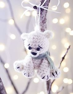 "Crochet Polar Bear ornament from the book ""Christmas Ornaments to Crochet"" by Megan Kreiner"