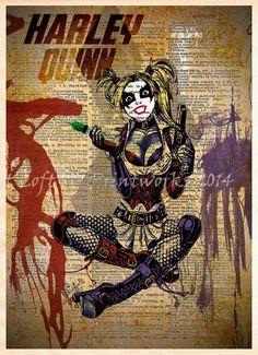 Harley Quinn splatter art, Harley Quinn pinup, Retro Super Hero Art, Dictionary print art