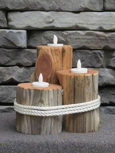 Diy Crafts Projects Wood Candle Holders 50 Ideas For 2019 Driftwood Candle Holders, Diy Candle Holders, Diy Candles, Wooden Decor, Wooden Crafts, Wooden Diy, Diy Craft Projects, Project Ideas, Diy Crafts