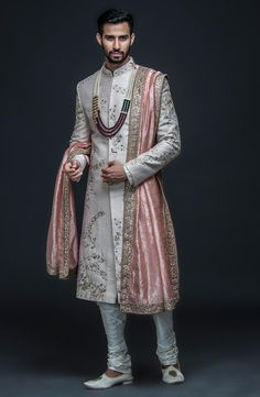 Sherwani With Hand Embroidery - Prom Dresses Design Couple Wedding Dress, Wedding Outfits For Groom, Groom Wedding Dress, Bridal Outfits, Wedding Suits, Sikh Wedding, Gothic Wedding, Punjabi Wedding, Farm Wedding