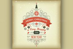 Christmas set labels emblems by Netkoff on Creative Market