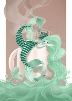 illustration of my version of the Starbucks mermaid… who really need a coffee ! Mermaid Mugs, Siren Mermaid, Mermaid Art, Mermaid Paintings, Mermaid Drawings, Art Starbucks, Starbucks Siren, Starbucks Drinks, Starbucks Coffee