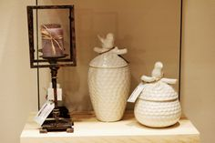 Candle holders and white jars to spice up your home!!
