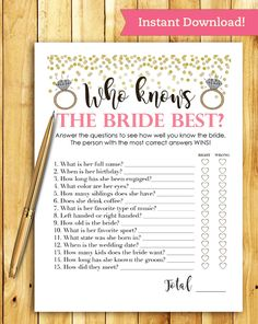 Printable fun and interactive game for your bridal shower. Print as many as you need right from home or your nearest print shop! ** THIS LISTING IS FOR A DIGITAL FILE ONLY - NO PHYSICAL PRODUCTS WILL BE SHIPPED TO YOU **   WHAT'S INCLUDED: ___________________________________  1 High Resolution PDF file 300 dpi  HOW TO USE: ___________________________________  1. Purchase & download file(s) 
