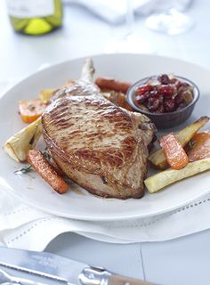 Pork Loin with Cranberry Maple Chutney & Roasted Root Vegtables Pork Loin Chops, Roasted Root Vegetables, Sunday Suppers, Cooking Instructions, Dried Cranberries, Chutney, Pork Recipes, Cooking Time