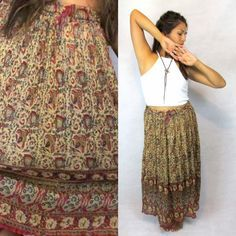 Vintage 90s does 70s Maxi Boho Hippie, Hipster, Gypsy, Indian Skirt/ Dress, Bold…
