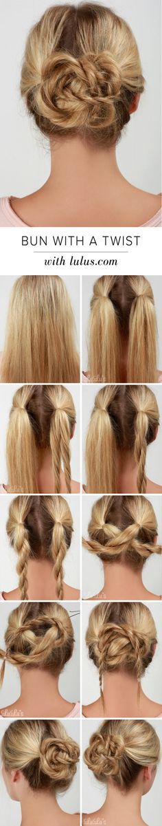 Bun with a Twist Hair Tutorial