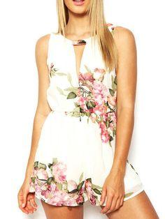 Description Pattern Type :Floral Color :White Sleeve Length :Sleeveless Material :Polyester Neckline :Round Neck Style :Street Shoulder(cm) :S:27cm,M:28cm,L:29c