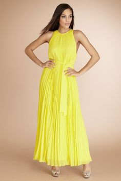 fa2e253303d9 Pleated Maxi-A bright pleated maxi with a waist tie for a flattering shape.
