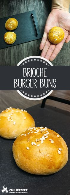 Brioche Burger Buns Rezept - Heidi' World Barbecue Recipes, Burger Recipes, Chili Recipes, Crockpot Recipes, Bun's Burger, Mini Burger Buns, Sandwich Vegan, Mini Bun, Ground Beef Recipes Easy