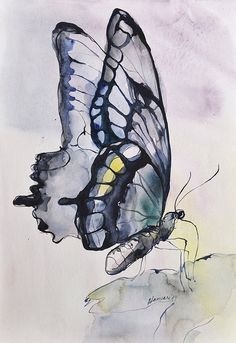 Items similar to Légèreté, Original peinture aquarelle photo papillon, aquarelle, Art onirique on Etsy