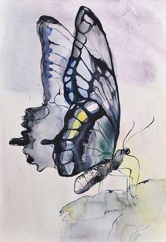 Items similar to Légèreté, Original peinture aquarelle photo papillon, aquarelle, Art onirique on Etsy