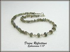 Labradorite Necklace Gemstone Necklace Green by DivineReflections