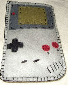 nintendo gameboy phone case, its a soft squidgy gameboy, who could resist <3 i love the little led light bead and the fact that the pattern is traced exactly from a photo of a real gameboy. Even if I do say so myself!