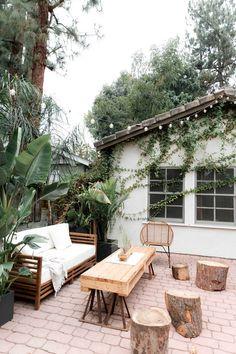 Great Outdoor Spaces – Patio   Porch Ideas - Brick patio. String lights. Bohemian California style. Outdoor living room
