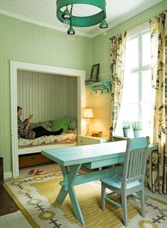 celadon A Home in Finland. Bed Lights, Rustic Cottage, Green Rooms, Decorating Small Spaces, Small Living, My Dream Home, Colorful Interiors, Beautiful Homes, Home Furniture