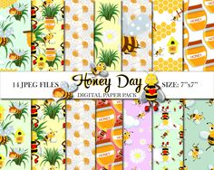 Honey day digital paper pack Summer paper Bees paper Flowers paper Instant Download Honey background Bumble bees Seamless Pattern 14 JPEG by PrintShoppy on Etsy