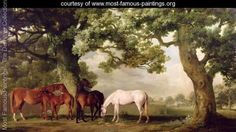 Mares and Foals Beneath Large Oak Trees, c.1764-68 - George Stubbs - www.most-famous-paintings.org