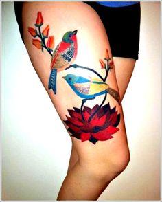 30 Beautiful Bird Tattoo Designs: Nice Bird Tattoo Designs For Girl On Thigh ~ Tattoo Design Inspiration