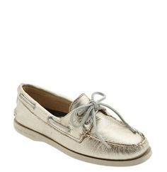 Metallic gold Sperry Top-siders.  A must have for travel. . .or any day really.