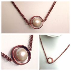 Spinning Pearl and Copper Necklace on Etsy, $25.00