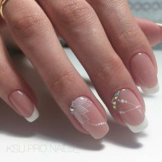 This would be very nice for a nail art wedding french manicure # . - This would be very nice for a nail art wedding French manicure … # French - Cute Nails, Pretty Nails, My Nails, Glitter Nails, French Tip Nails, French Nail Art, Bridal Nails French, White French Nails, French Manicure Acrylic Nails
