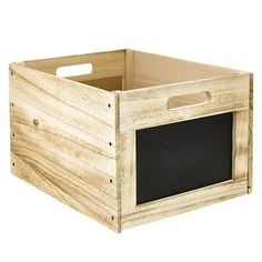 Vintage-Look Wooden Chalkboard Crate in storage baskets at Lakeland Wooden Storage Crates, Crate Storage, Storage Baskets, Storage Chest, Office Standard, Outdoor Furniture, Outdoor Decor, Vintage Looks, Chalkboard