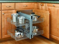 Buy the Rev-A-Shelf Chrome Direct. Shop for the Rev-A-Shelf Chrome Wide by Deep Two Tier Pull Out Blind Corner Base Cabinet Wire Basket Organizer and save. Kitchen Cabinet Accessories, Kitchen Cabinet Organization, Storage Cabinets, Cabinet Organizers, Kitchen Organizers, Cabinet Shelving, Cabinet Ideas, Storage Organizers, Cupboard Storage