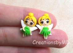 tinker bell stud earrings polymer clay fimo by CreationsbyMD