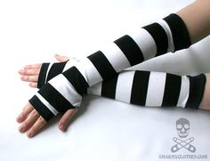 stripe fingerless gloves armwarmers - Rock Star - smarmyclothes scene punk diy