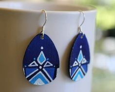 Hand-painted Blue Fountain Earrings with Sterling Silver hooks by BluebirdEarrings--Free shipping!!
