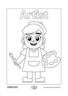 Free Printable High Quality Coloring Pages for kids Easy Coloring Pages, Adult Coloring Book Pages, Free Printable Coloring Pages, Coloring Pages For Kids, Coloring Books, Artists For Kids, Art For Kids, Create A Story Book, Alfabeto Disney