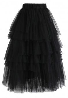 Love Me More Layered Tulle Skirt in Black - Retro, Indie and Unique Fashion Hot Outfits, Skirt Outfits, Blouse And Skirt, Dress Skirt, Unique Fashion, Fashion Black, Oversized Hoodie Dress, All Black Dresses, Gowns Of Elegance