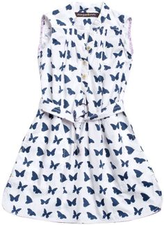 Morgan & Milo Faye Butterfly Shirt Dress - Navy/White on shopstyle.com