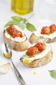 Roasted Tomato and Ricotta Crostini www.bellalimento.com