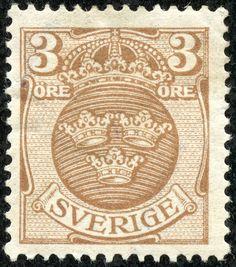 "Sweden  1919 Scott 97 3ö pale brown ""Arms"" Watermark 181: ""Wavy Lines"""