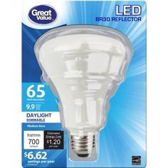 Great Value 10W LED BR30 (E26) Dimmable Light Bulb, Daylight