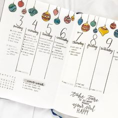 Bullet journal weekly layout, Christmas drawings, Christmas decorations drawings, cursive headers, vertical layout. @bulletby_r