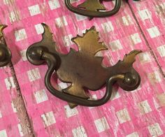 Six 6 Vintage Brass Furniture Pulls Holes by SalvageArtsCreations