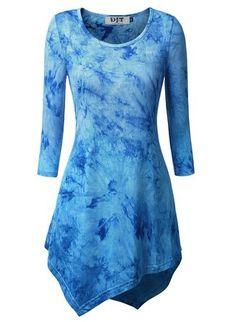 DJT Womens Tie Dyed Hankerchief Hemline Tunic Top at Amazon Women's Clothing store: