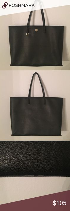 Tory Burch Cameron Tote Authentic Tory Burch Cameron Tote - black coated canvas. Used slight wear and tear photographed. Tory Burch Bags