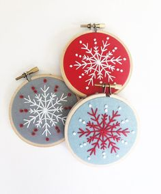 Embroidered Ornament SET OF 3 - Snowflake Ornament - Christmas Ornament - Embroidery Hoop Art - Hand