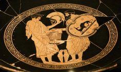 Red-figure Kylix-Odysseus giving Achilles' divine helmet & armor to Neoptolemus -500-450 BC-Douris painter