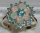 9CT GOLD HEAVY BLUE TOPAZ  FIERY OPAL RING - amp, blue, FIERY, Gold, Heavy, Opal, Ring, Topaz