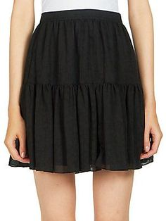 Saint Laurent Folk A-Line Mini Skirt - Black - Size 36 (4)
