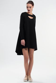 RIPPLE ASYMMETRIC DRESS by PULSE Felt-blend asymmetric hem dress cut with circular paneling for ease of movement. Long sleeves and cutout in front. Hook-fastening keyhole in back. Material: Felt-blend 71% Polyester 24% Rayon 5% Spandex Colour: Black Size: EU 34 - US 2 to EU 44 - US 12 Care: Dry clean.